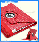 Red The New iPad 4 4G iPad 3 iPad 2 Smart Crocodile Leather 360° Rotate Case