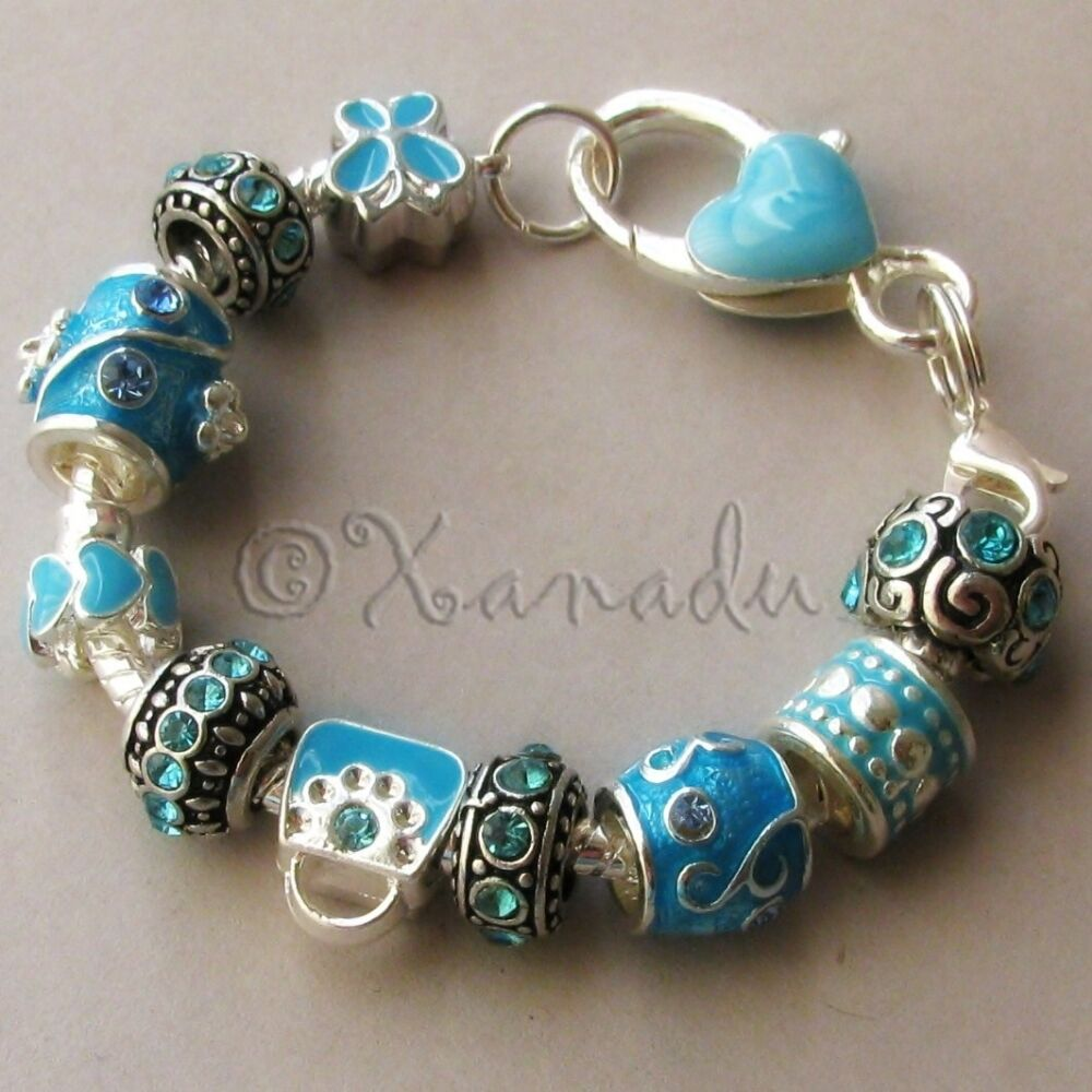 Bracelet With Hearts: Turquoise European Charm Bracelet With Blue Rhinestone