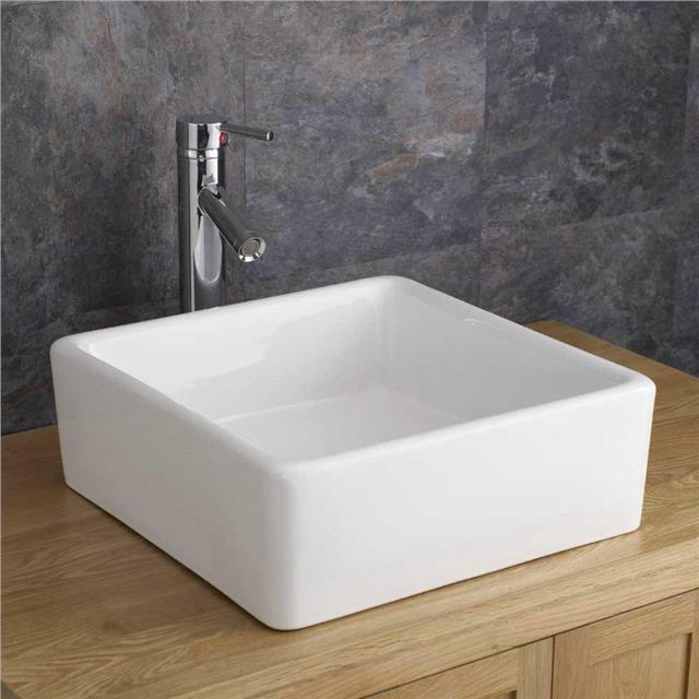 Counter Mounted Sink : Countertop Counter Mounted 38cm x 38cm Square Wash Basin Sink ...