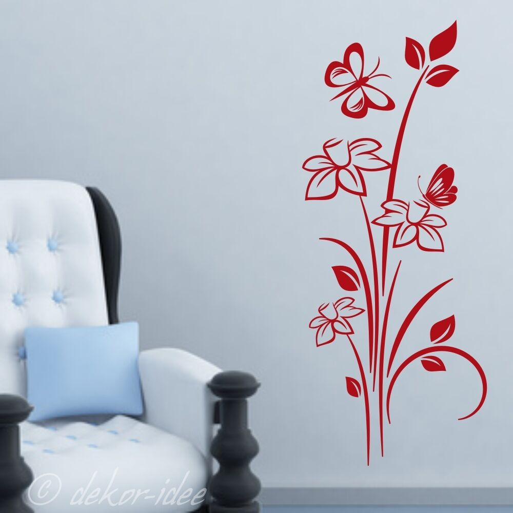 wandtattoo blume 41 sch ne blumenranke mit schmetterling floral wandtatoo ebay. Black Bedroom Furniture Sets. Home Design Ideas