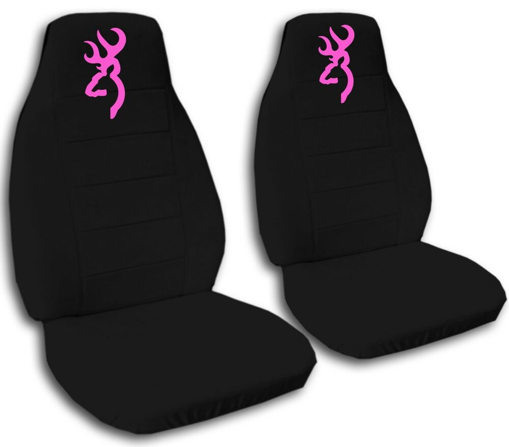 Browning Car Seat Covers In Pink Amp Black Velour Front Set