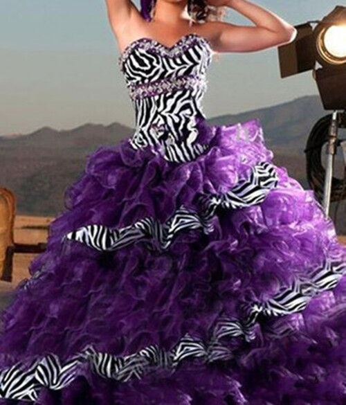 Purple zebra quinceanera dresses prom bridal gowns stock for Zebra print wedding dress