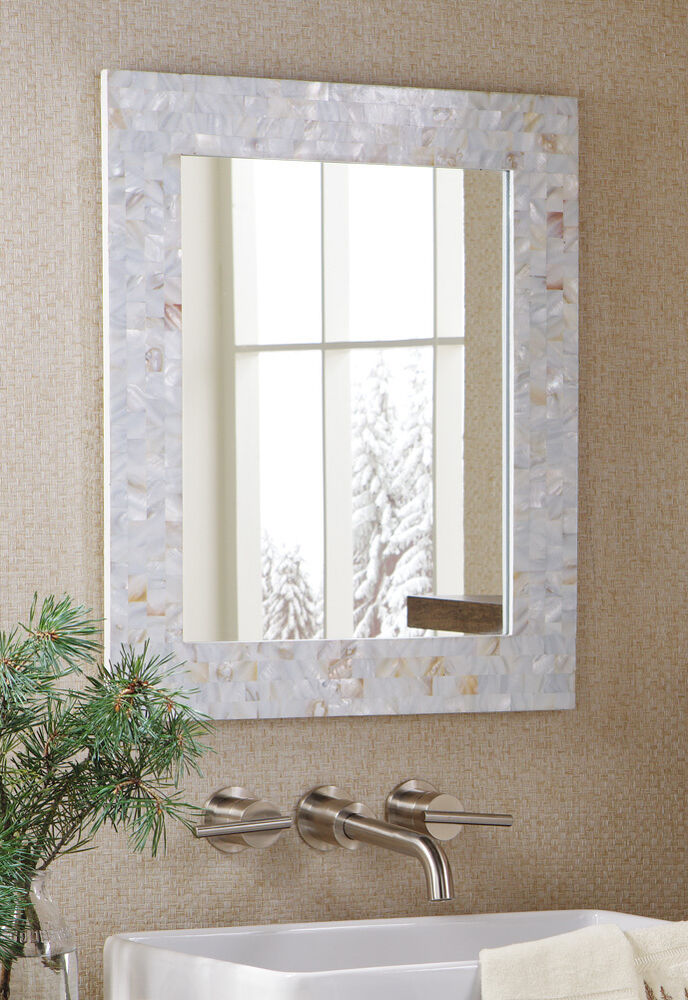 New Mother Of Pearl Mosiac Tiles Accent Mirror White