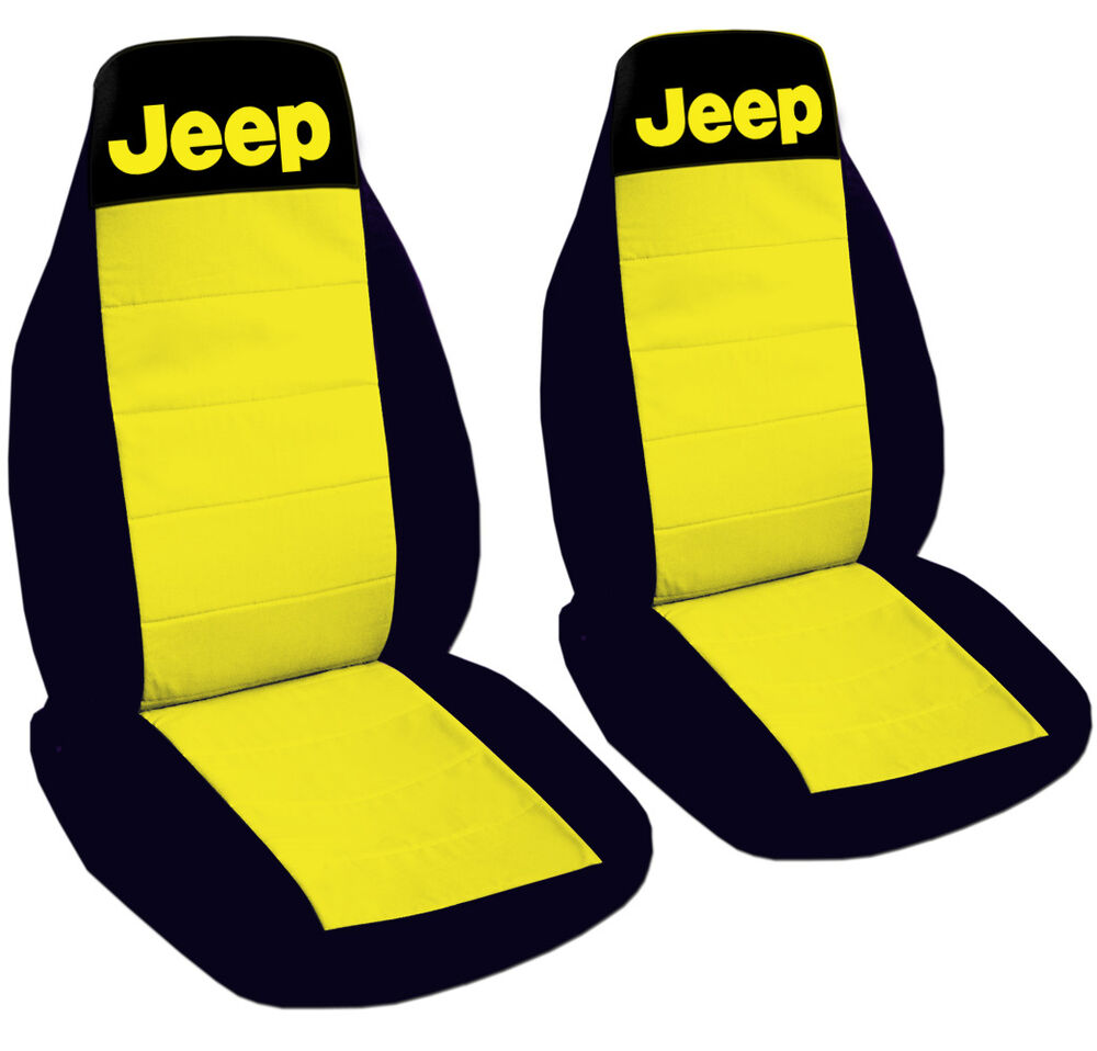 Jeep Wrangler Car Seat Covers Yellow Black With Writing