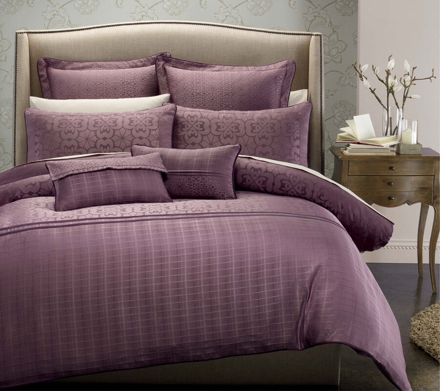 7 Pc Michelle Hotel Collection Duvet Cover Set Plum Full