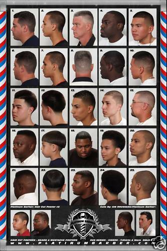 24 X 36 BARBER SHOP POSTER/CHART MODERN HAIR STYLES FOR ...
