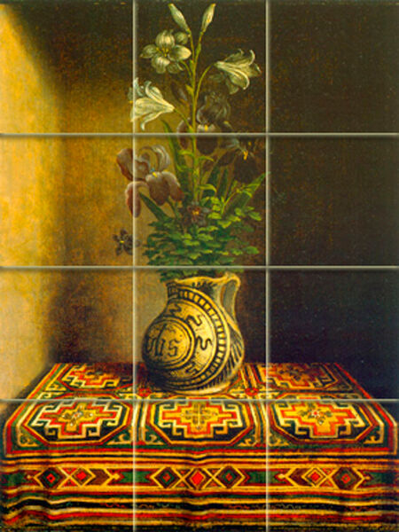 Art flowers vase ceramic mural backsplash bath decor tile for Artwork on tile ceramic mural