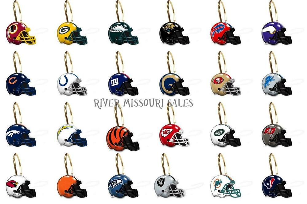 Green bay packers bathroom set - Nfl Shower Curtain Rings Hooks Sets Of 12 Choose Your Team Licensed