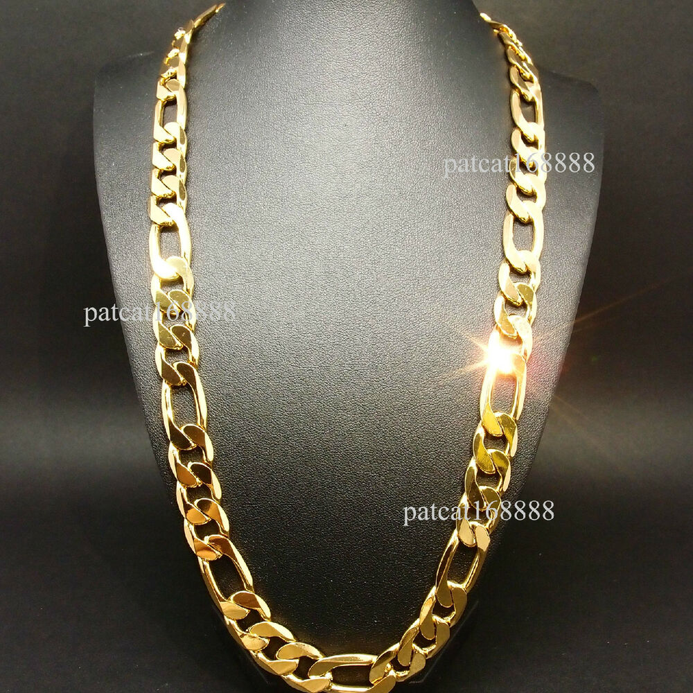 new heavy 94g 12mm 18k yellow gold filled men 39 s necklace. Black Bedroom Furniture Sets. Home Design Ideas