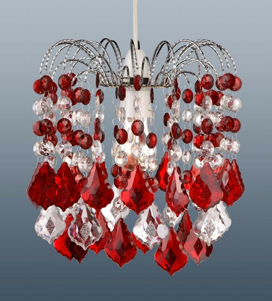 Red Acrylic Chandelier: RED ACRYLIC CRYSTAL PEAR DROPS CHANDELIER CEILING LIGHT