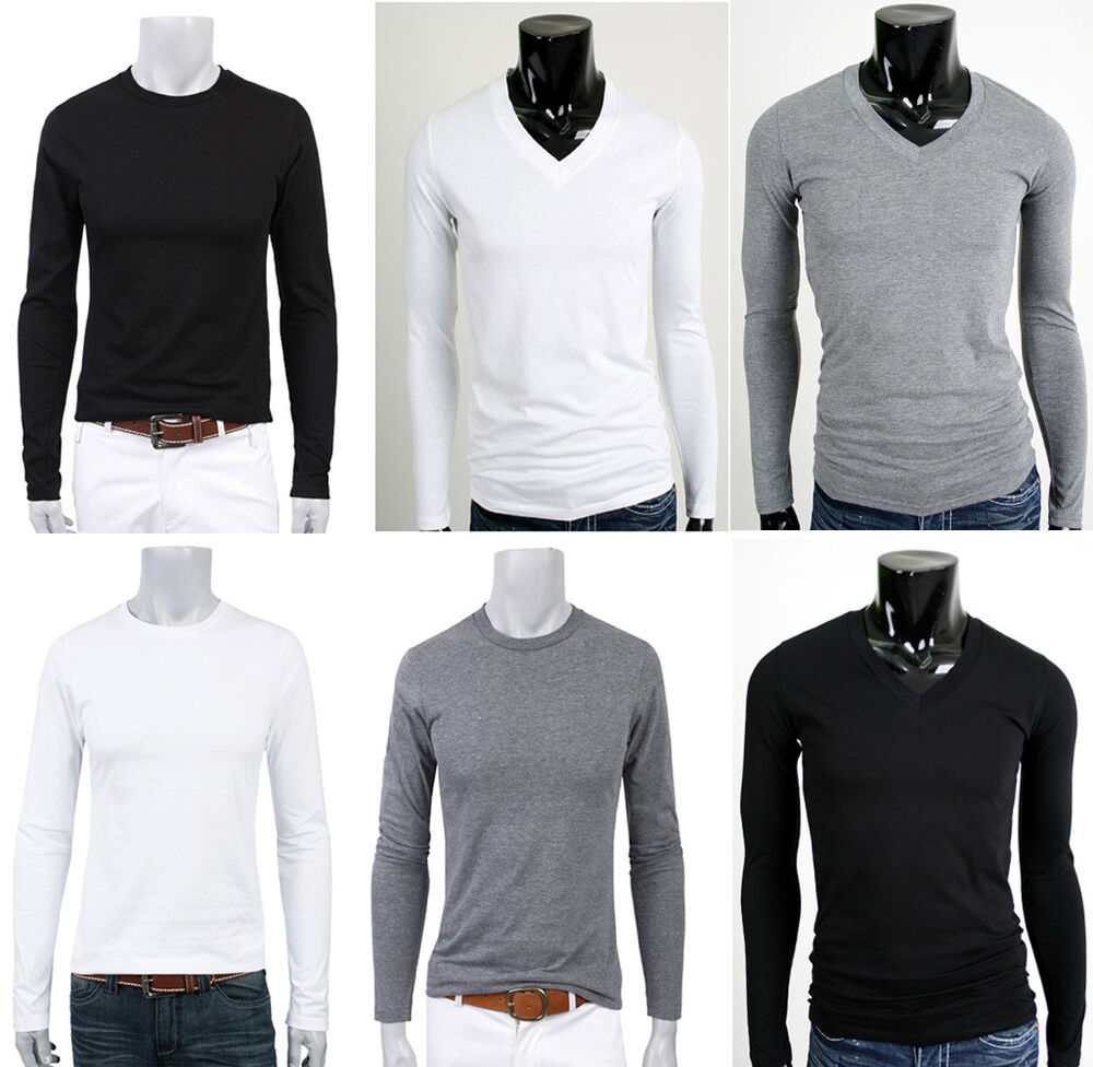 Mens shirts casual plain 100 cotton t shirts shirt tops v for Mens 100 cotton t shirts