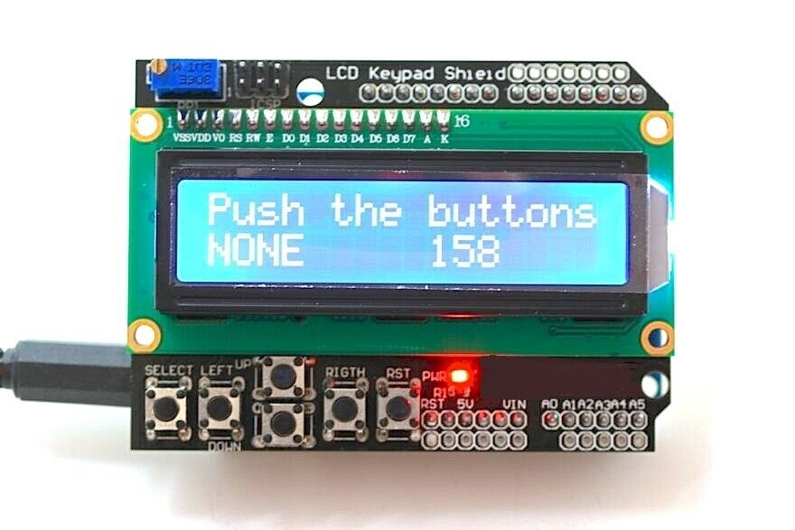 Character lcd display shield with keypad for arduino