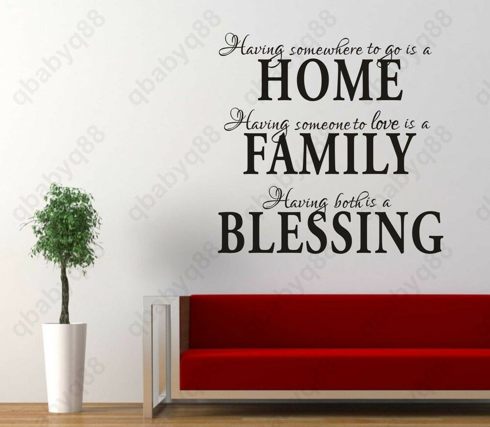 Home family blessing wall quotes decal removable stickers for Home decor quotes on wall