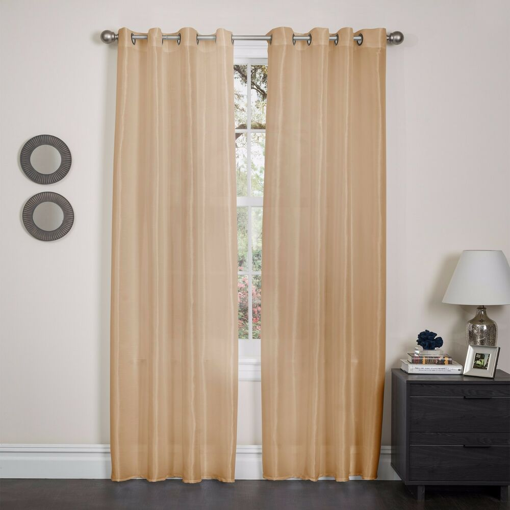 "FAUX SILK WINDOW CURTAIN PANEL 8 GROMMETS, 15 COLORS, HOLLY - 57""x90 ..."