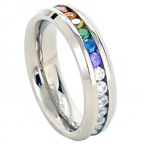 Rainbow Wedding Rings: Lesbian Gay Pride Wedding Ring Band Rainbow