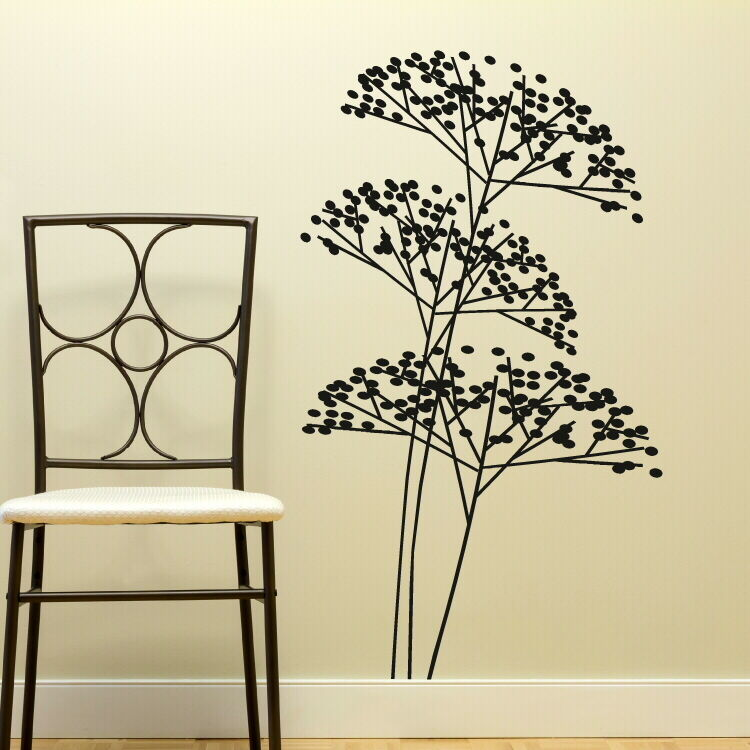 Bush tree branch giant wall art sticker modern home vinyl ...