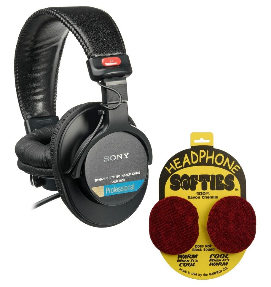 sony mdr 7506 headphones with garfield headphone softies red ebay. Black Bedroom Furniture Sets. Home Design Ideas
