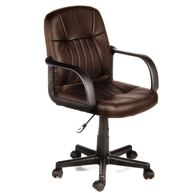 new brown executive office leather computer desk chair adjustable wheel seat ebay. Black Bedroom Furniture Sets. Home Design Ideas