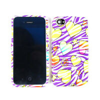 Hearts Stars On Purple Zebra Skin Cover For Apple iPhone 4 4S Hard Case Snap On