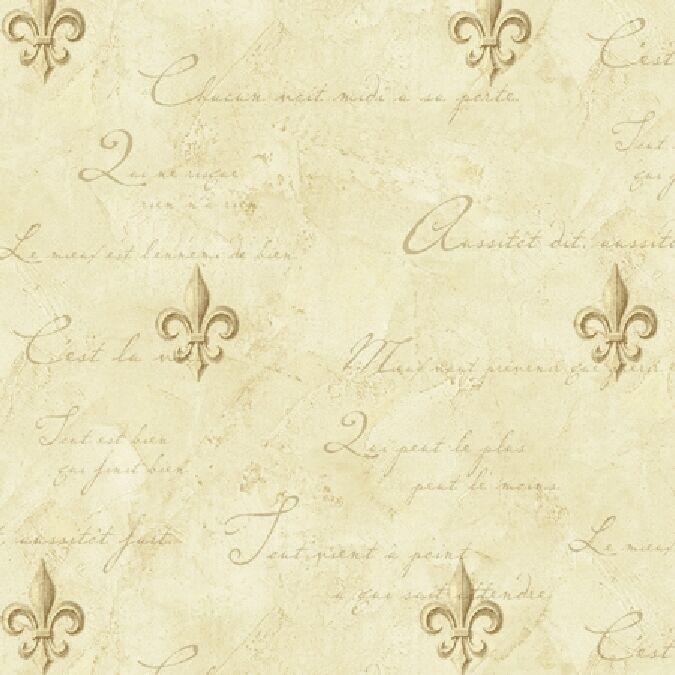 Old world fleur de lis on cream w french writing Fleur de lis wall
