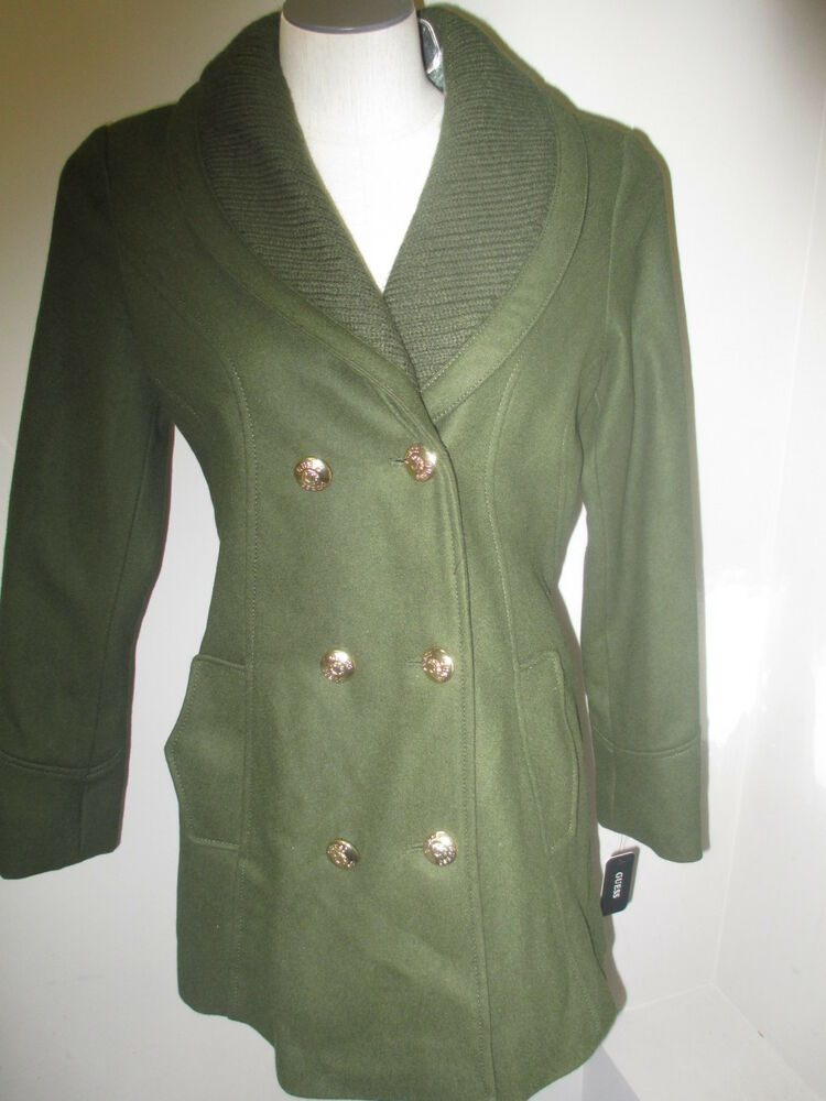 Guess Double Breasted Knit Collar Peacoat Coat Olive Green ...