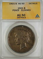 1921 Peace Silver Dollar Coin, ANACS AU-50 Details - Cleaned