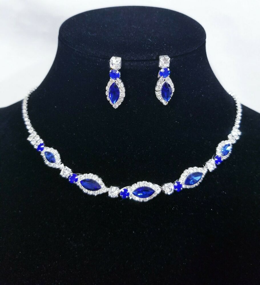 Bridal Silver W Clear Rhinestone Crystal Necklace And