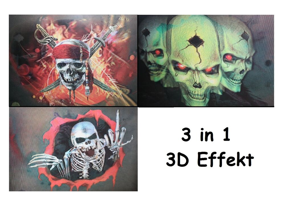 totenkopf skillet 3d effekt bild bilder poster piratenkopf leinwand wandbilder ebay. Black Bedroom Furniture Sets. Home Design Ideas