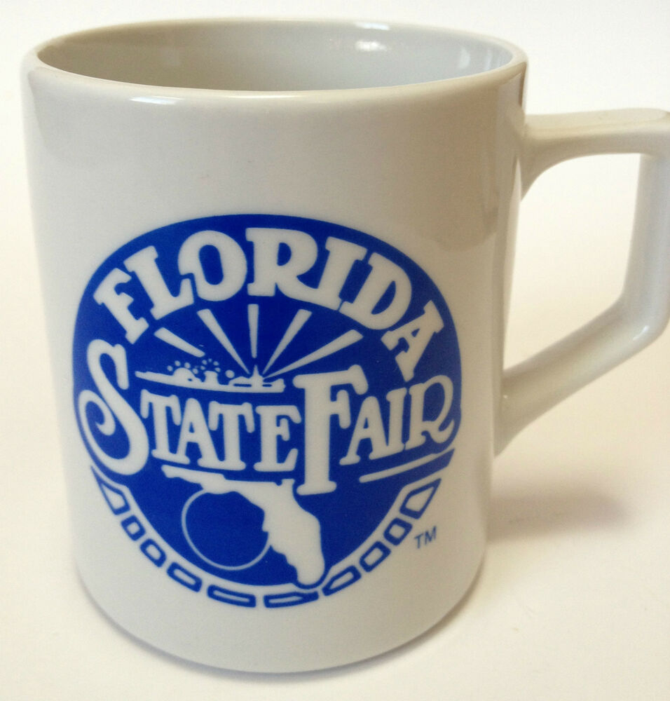 Vintage Florida State Fair Souvenir Coffee Mug Cup Blue