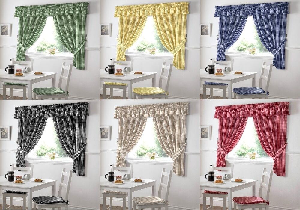 New Gingham Check Kitchen Curtains With Free Tie Backs