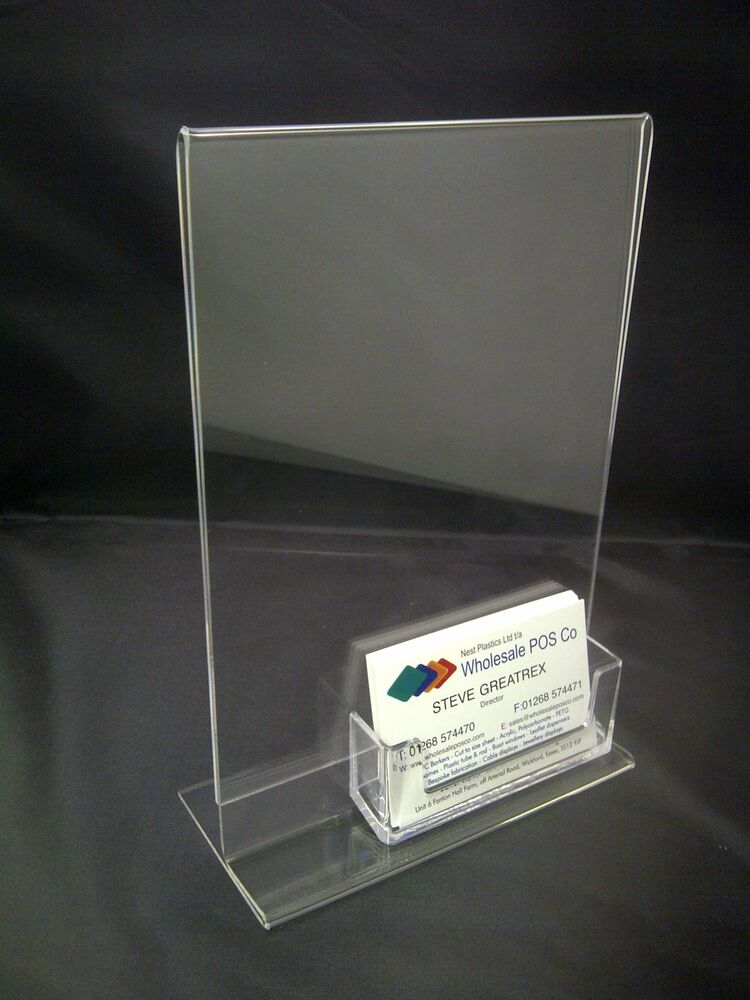 Acrylic a5 portrait clear perspex poster menu display for Lucite business card holder