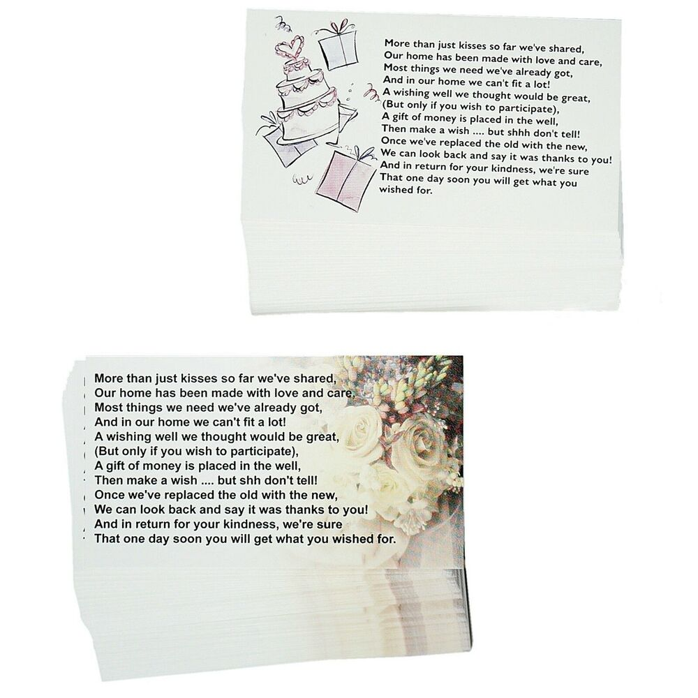 Wedding Wishing Well Cards X 50 Invitations Stationery Supplies
