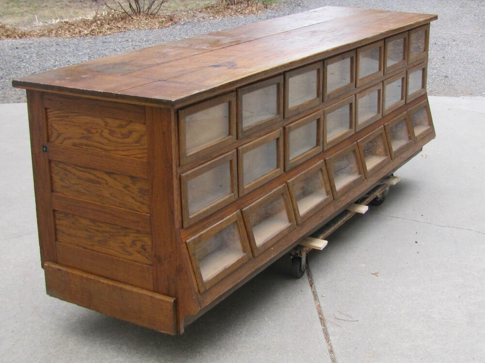 Antique country store sherer oak seed bean or candy for Antique display cabinet