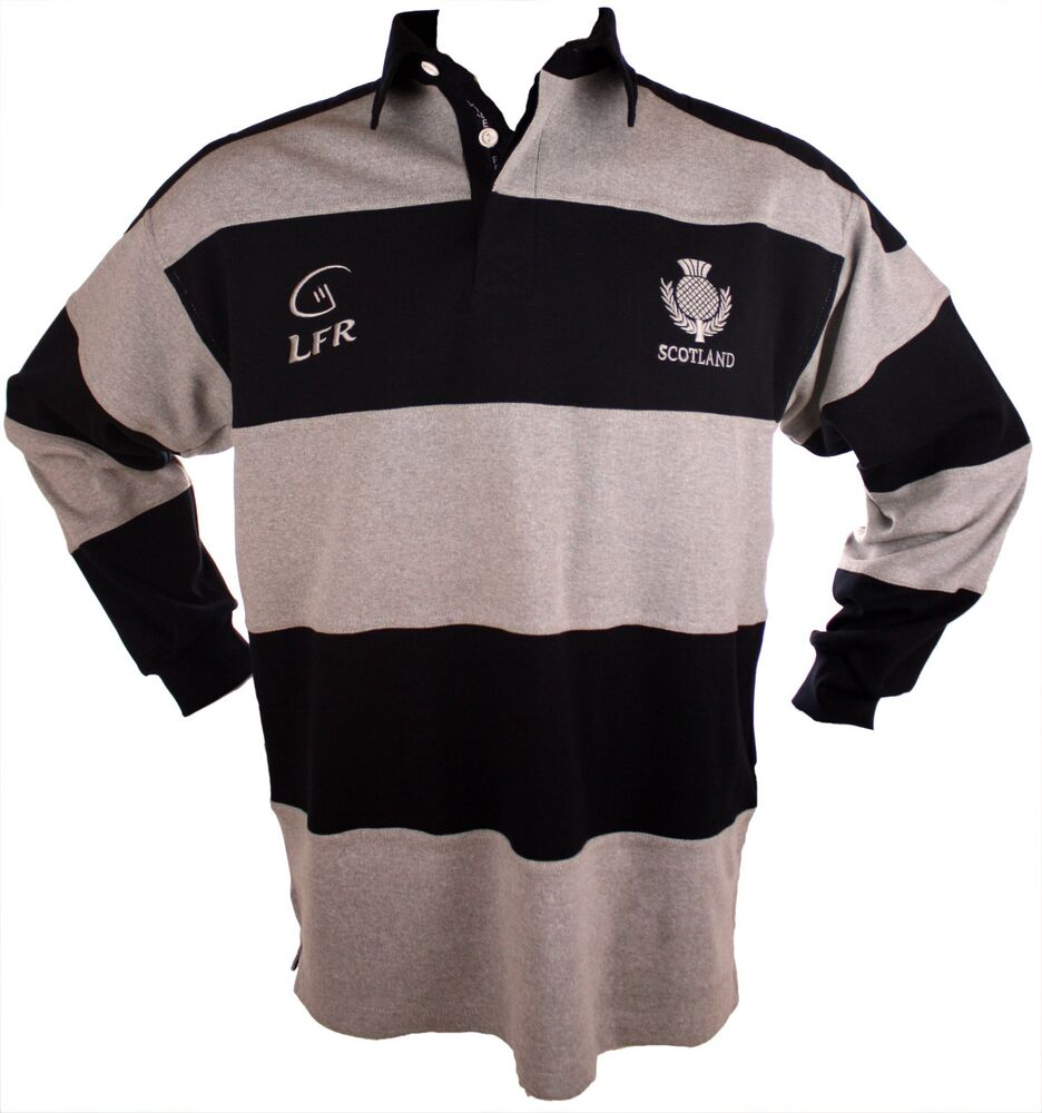 Scotland live for rugby navy grey striped long sleeve for Long sleeve striped rugby shirt
