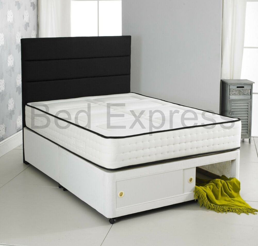 2000 Pocket Memory Foam Divan Bed Storage Single 4ft6 Double 5ft King Size 6ft Ebay