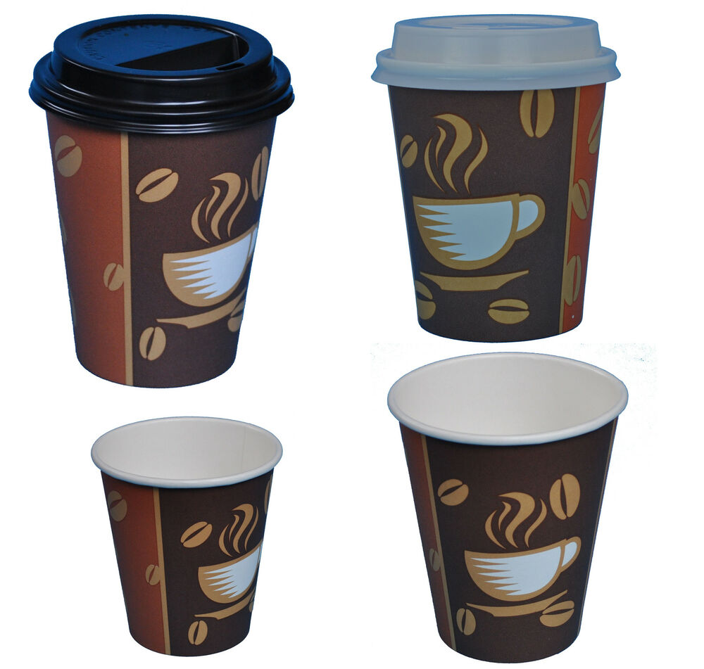hartpapier coffee to go becher pappbecher kaffeebecher mit oder ohne deckel ebay. Black Bedroom Furniture Sets. Home Design Ideas