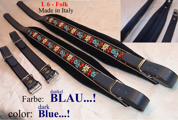 6 cm Akkordeongurte,Riemen,correas acordeon,Accordion Straps, FOLK - blau / blue