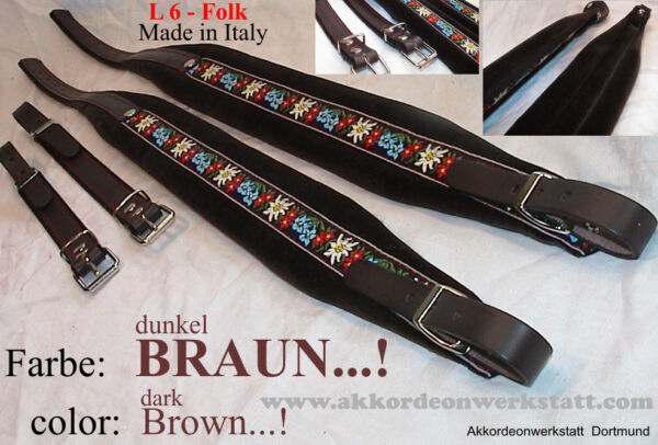 6 cm Akkordeongurte, Riemen, correas para acordeon, Accordion Straps, Folk BRAUN