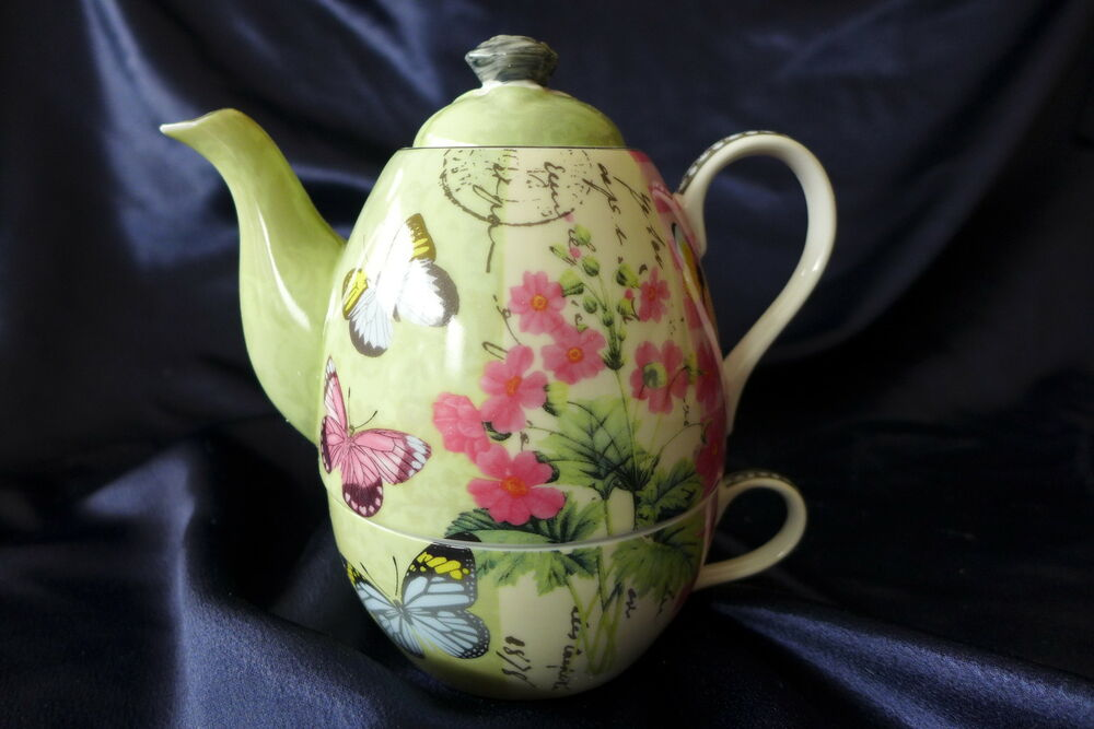 porcelain tea for one teapot mug set butterfly garden 7 unique designs ebay. Black Bedroom Furniture Sets. Home Design Ideas