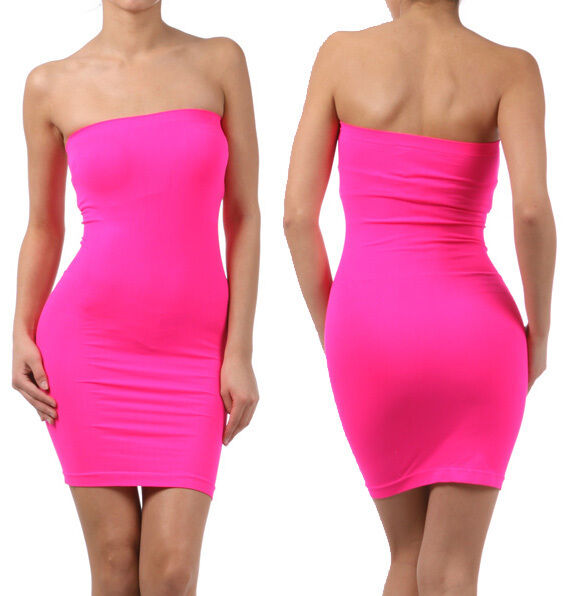 Tube Mini Dress Strapless Stretch tight fitted body-con Seamless ...