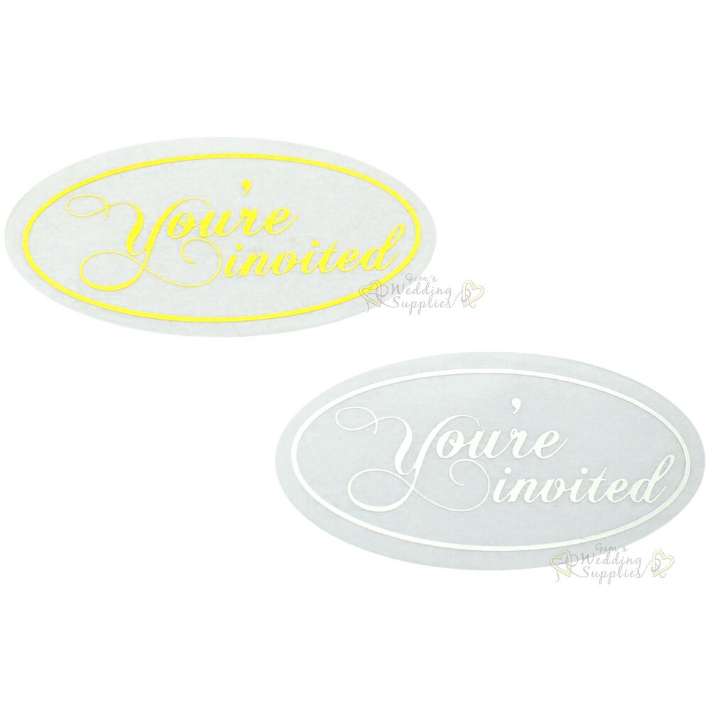 New50x Silver Or Gold Youre Invited Envelope Stickers Seals Wedding Invitations