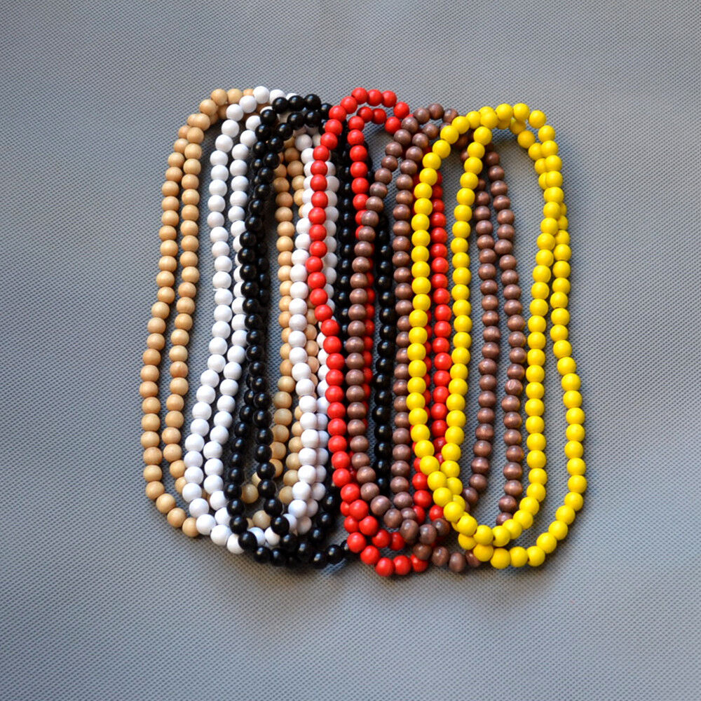 Beads Necklace Beads: Good Wood Hiphop Unisex Plain Natural Wood Beads Chain