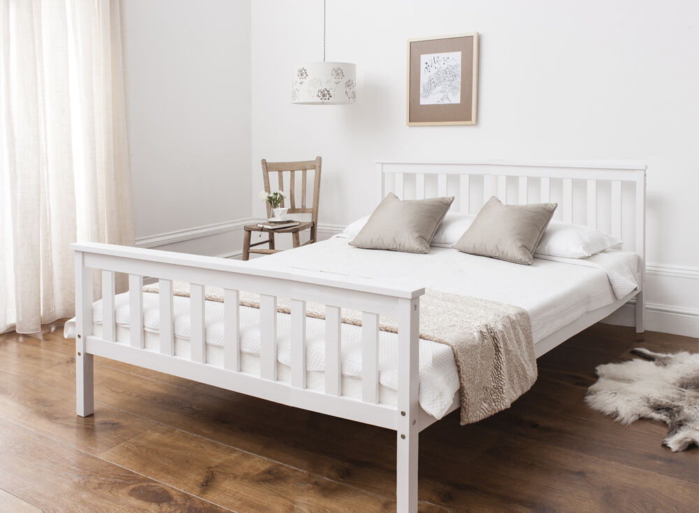 double bed in white 4 39 6 wooden frame white ebay. Black Bedroom Furniture Sets. Home Design Ideas