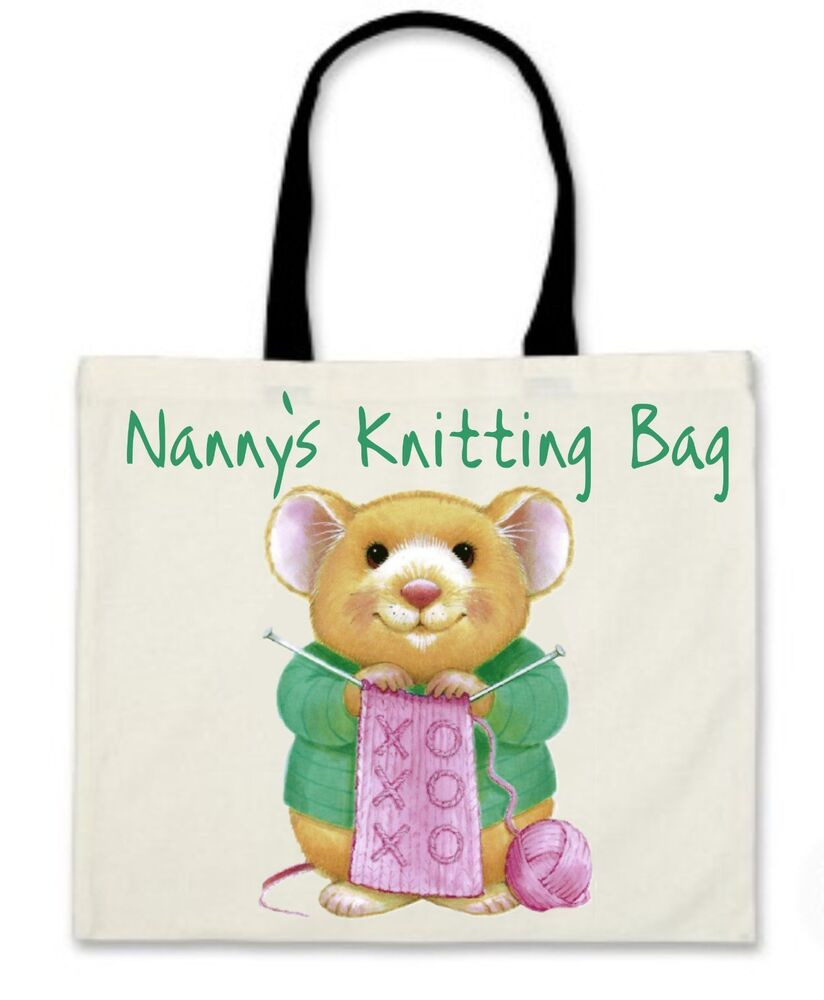 Knitting Gifts For Mum : Personalised knitting bag with wooden handles ideal gift