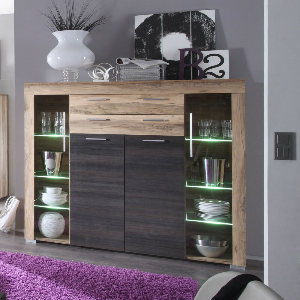highboard boom anrichte in nussbaum satin braun touchwood mit beleuchtung ebay. Black Bedroom Furniture Sets. Home Design Ideas