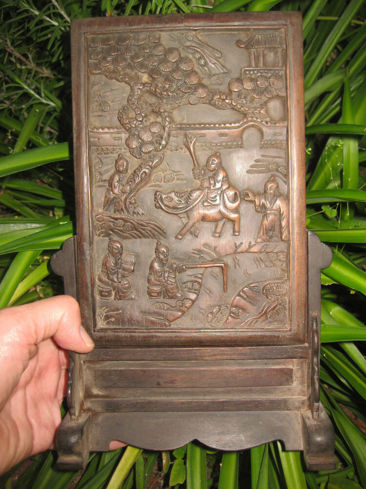 Chinese antique table screen wooden board carving qing for Wood in chinese