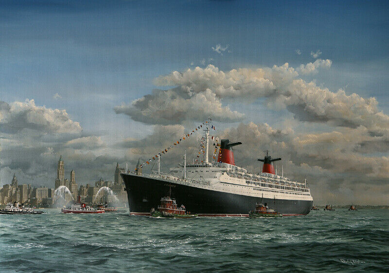 SS France French Line Ocean Liner Marine Painting Art