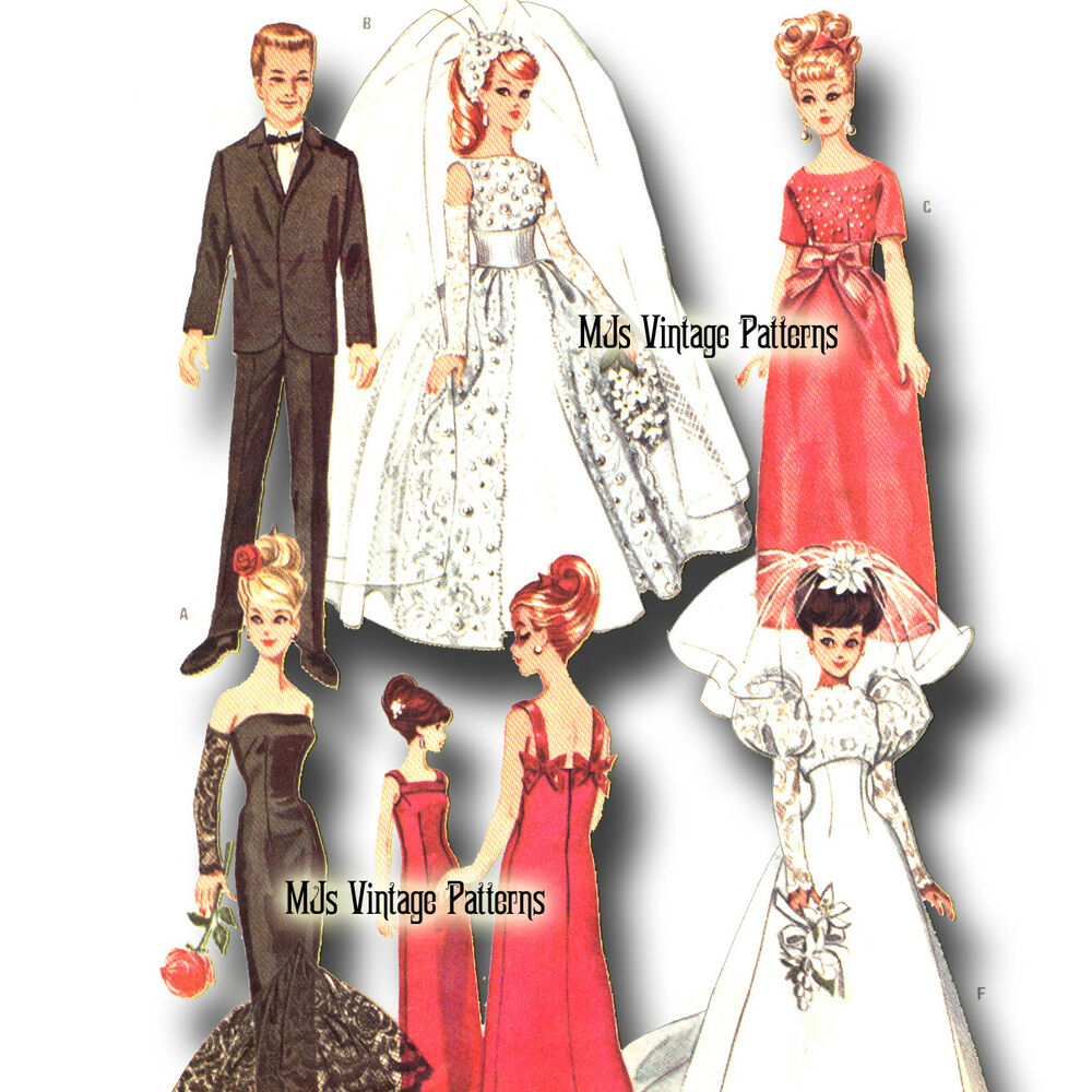Free wedding dress sewing patterns - Amp Ken Doll Pattern Wedding Dress Gown Prom Tuxedo Suit Ebay