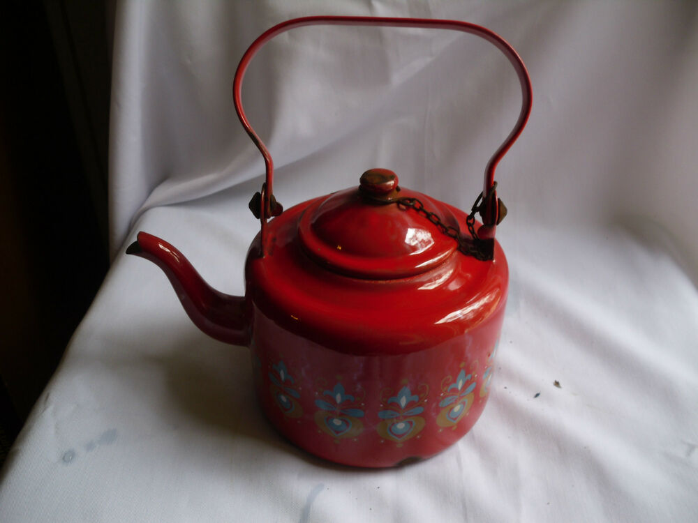 Red Tea Kettle ~ Vintage graniteware red tea kettle with floral design ebay