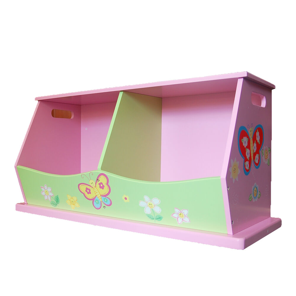 Carnival Toy Box Pink: New Girls' Wooden Hand Painted Pink Flower Double Stacking